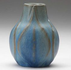 VAN BRIGGLE Bulbous vase embossed with full-height leaves under two-tone matte blue glaze, grinding chip. on Sep 2007 Vintage Pottery, Pottery Art, Modern Words, English Pottery, Carlton Ware, Ceramics Projects, Ceramic Studio, Pottery Wheel, Arts And Crafts Movement