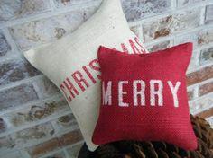 Christmas Series Merry Christmas Burlap Pillows Double Set