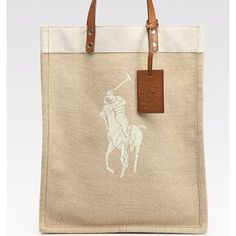 87fe1e6e6491 Ralph Lauren Collection Printed Polo Pony Canvas and Jute Tote