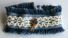 Jean cuff bracelet. Lace bracelet. Jean cuff bracelet with beige lace, copper key and button. Blue bracelet. One of a kind. Free shipping.