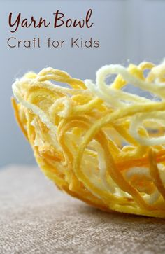 Yarn Bowl Craft Made by Kids from @Shaunna @ Fantastic Fun and Learning . I love the cheerful yellow color!