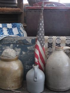 Canning crock and jugs with American flag