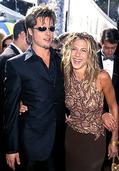 "Jennifer Aniston & Brad Pitt 1st public appearance together at the Emmy Awards in L.A. September 1999. Pitt once gushed of his date, soon to become his fiancé ""Jen is the fire we all crowd around for warmth"""