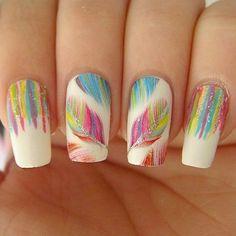 Leaf & waterfall nail art