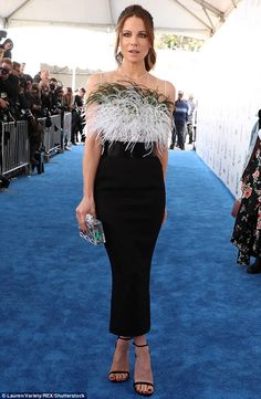 Radiant: Kate Beckinsale, in Pamella Roland,  certainly did not disappoint in the style stakes on Saturday night, as she made an effortlessly glamorous arrival at the 32nd Independent Spirit Awards