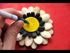 "(396) Аппликация из семечек ""Цветок в расписном горшочке"" - YouTube Youtube, Handmade Crafts, Flower, Play Dough, Wood, Youtubers, Youtube Movies"