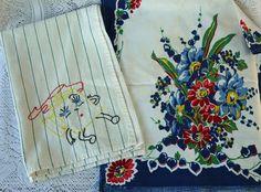 Vintage floral tea towel  www.etsy.com