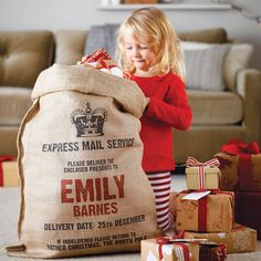 Personalized Christmas Sack - bet you could make these yourself out of burlap.