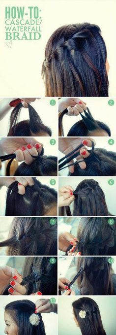Cascade (waterfall) braid hairstyle