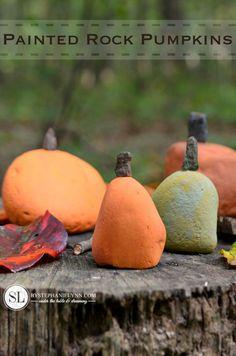 Painted Rock Pumpkins - A Fall kids' craft.