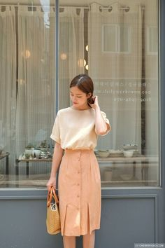 Korean Outfits To Look Cool Modest Outfits, Skirt Outfits, Modest Fashion, Stylish Outfits, Cute Outfits, Fashion Outfits, Womens Fashion, Long Skirt Fashion, Korean Fashion Trends