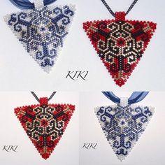 Two pendants #peyote #pendant #necklace #beaded #miyuki #swirly #handmadejewellery #miyukidelica #beading #beadwork #unique #handmade #handmadejewelry #triangle #necklace #mydesign