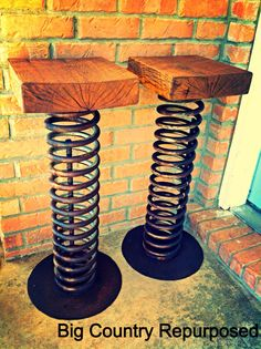 Repurposed industrial bar stools- Love the use of wood and metal, would fit colour scheme of my project but not the concept. Industrial Bar Stools, Industrial Loft, Industrial Lighting, Industrial Furniture, Diy Furniture, Furniture Design, Industrial Bedroom, Industrial Bookshelf, Industrial Windows