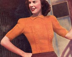 Ladies 1940s Puffed Sleeve Cable Jumper 34 Bust Marriners 18 Vintage Knitting Pattern Download