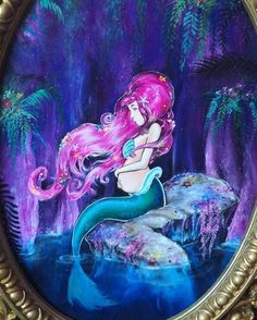 Made this pregnant mermaid painting of...