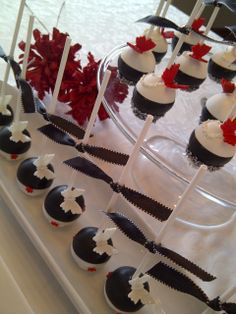 Black, white, red & silver cake pops by Creative Cakepops