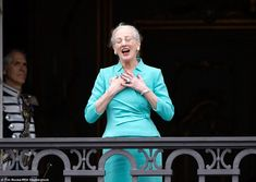 Overjoyed: Queen Margrethe, who was without her husband Prince Henrik (who was ill with the flu) appeared overcome.