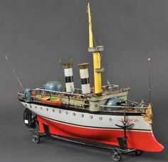 Märklin Tin-Ships JOWA Original crew first series cruiser clockwork,
