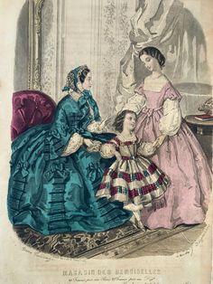 Fashion Prints, Women's Fashion, Fashion Plates, Woodblock Print, Fashion Sketches, Hand Coloring, French Antiques, Artist, Painting
