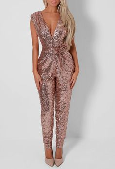 Lulu Rose Gold Sequin Jumpsuit (Gold sequined jumpsuit by Cesar Galindo) Rose Gold Jumpsuit, Sequin Jumpsuit, Sparkly Jumpsuit, Formal Jumpsuit, Look Fashion, Womens Fashion, Overall, Jumpsuits For Women, Fashion Jumpsuits