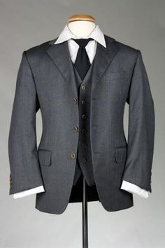 Vintage Faconnable Wool Charcoal Herringbone 2 Piece 42 S Jacket/Vest Combo ITALY