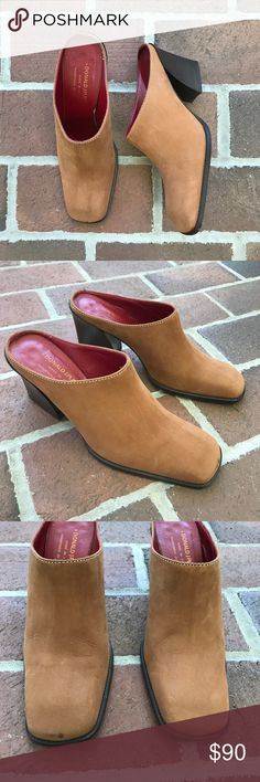 Donald J. Pliner Whiskey Tan Brown Mules Donald J. Pliner, slide on, square toe, whiskey tan, brown, mules. Heel approximately 3 1/4in. Wear on front toe pictured. Donald J. Pliner Shoes Mules & Clogs
