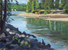 """Into the Willamette"" 9"" x 12"" oil on board."