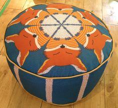Fox pouffe / beanbag. Sweet little sleeping foxes in a circle pattern. Made by Scottish designer duo Orwell and Goode. #orwellandgoode #fox# woodland #beanbag #pouffe #kidsbedroom #kidsroom