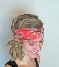 Twisted Head Wrap Coral Floral  Turban Headband  by LillyWest, $14.00