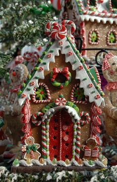One of the best Christmas family traditions is making gingerbread houses! It's messy, it's fun, and everyone's had their share of candy and gingerbread by the end. Here are some crazy-inspiring gingerbread houses to give you ideas for this Christmas! Christmas Gingerbread House, Noel Christmas, Christmas Goodies, Little Christmas, Winter Christmas, All Things Christmas, Christmas Crafts, Christmas Decorations, Christmas Ornaments