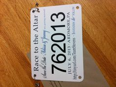 This is cute!! A save the date running bib for an engaged couple who both have the passion for running.