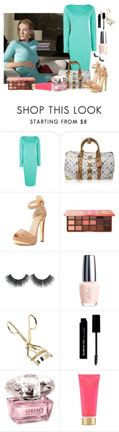"""Teal bodycon dress"" by pocketfullofglitter ❤ liked on Polyvore featuring Boohoo, Louis Vuitton, Christian Louboutin, Too Faced Cosmetics, The BrowGal, Versace and Victoria's Secret"