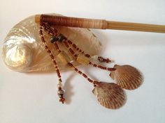 Beach Shell Multistrand Hair Stick with Wood by FlyingCraneOrigami, $14.99
