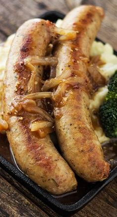 Bangers and Mash Recipe: Sausages with Sour Cream Mashed Potatoes and an Onion Mustard Gravy