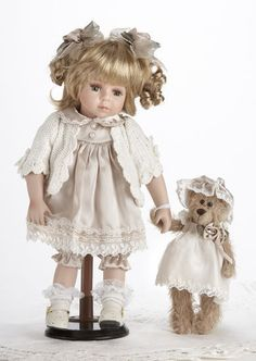 NIB Adorable 14 Blonde Victorian Porcelain Delton Doll with Bear, Pink or Ivory
