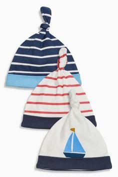 Купить Набор из трех шапочек с узелком сверху (темно-синий в полоску, с морским рисунком) (0-12мес.) - Покупайте прямо сейчас на сайте Next: Россия