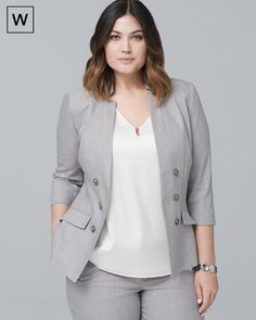 Womens Plus Linen-Blend Blazer Jacket by White House Black Market - Women Blazer Jackets - Ideas of Women Blazer Jackets Blazer Jackets For Women, Blazers For Women, Suits For Women, Clothes For Women, Women Blazer, Plus Size Suits, Plus Size Blazer, Big Girl Fashion, Work Fashion