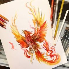 I had so so much fun with this guy. I went with a bigger drawing for today of one of my favorite subjects- a phoenix!  Now available for preorder:lucky978.storenvy.com...