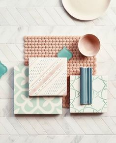 Confiserie Blush Chevron sample with Old Havana, East Haven, Cannes and Metro Deco sample tiles Deco Design, Tile Design, Mosaic Wall, Mosaic Glass, Mosaic Mirrors, Stained Glass, Moodboard Interior, Material Board, Design Palette