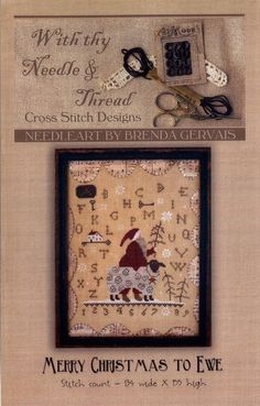 With Thy Needle & Thread: Merry Christmas to Ewe - Cross Stitch Pattern by TheCrossIBare on Etsy https://www.etsy.com/listing/255555238/with-thy-needle-thread-merry-christmas