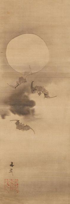 TANIBunchô(谷文晁 Japanese, 1763-1840) Bats under the Moon  Edo Period(1603-1868) ink on paper, hanging scroll