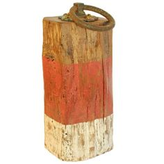 Red and White Painted Salvaged Wooden Oak Doorstop by Reclaimed Time
