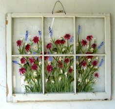 Vintage Furniture,Vintage Windows,Repurposed,Repainted by RightUpMyAlleyDesign Old Windows Painted, Painted Window Panes, Painting On Glass Windows, Glass Painting Designs, Vintage Windows, Vintage Doors, Antique Doors, Window Paint, Antique Windows