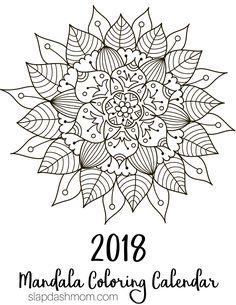 This free printable calendar features unique mandala coloring pages. I love mandalas and I love coloring, so this is the perfect calendar for me! You can print it on cardstock, Mandala Art, Mandalas Painting, Mandalas Drawing, Mandala Pattern, Dot Painting, Zentangles, Pattern Coloring Pages, Mandala Coloring Pages, Adult Coloring Pages