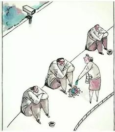 lady is giving donation to the person who is just below of CCTV Cam.