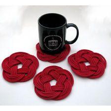 Mystic Knotwork: Red Nautical Sailor Knot Turks Head Coaster...