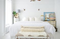 Jae & Devin's Labor of Love in Brooklyn Powder Blue Linen White Interior and Master Bedroom