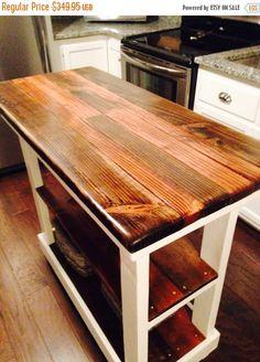 WINTER SALE Multi Functional Tall Table American u0026 Dark Walnut Stained  Country White Kitchen Island W Center Shelf Custom