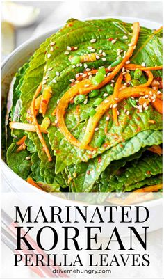 This Korean perilla leaf kimchi is a simple Korean side dish made with marinated perilla leaves in soy sauce Korean Side Dishes, Healthy Side Dishes, Side Dish Recipes, Easy Korean Recipes, Cambodian Food, Herb Salad, Low Sodium Soy Sauce, International Recipes, Kimchi
