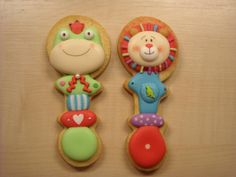Use a baby rattle cookie cutter to make these adorable cookies!